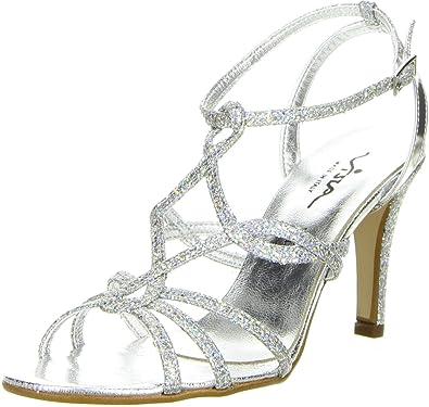 Vista Damen Zehentrenner Schlangenoptik Silber, Größe:40, Farbe:Silber