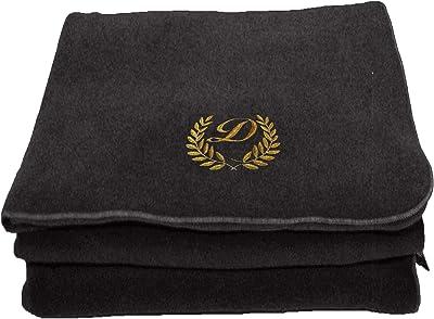 BgEurope Personalized Custom Embroidered Polar Sofa Bed Travel Fleece Blanket - REF. Leaves - Grey