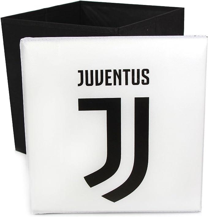 Kit Pouf Puff Contenitore poggiapiedi Sgabello Juventus Cuscino arredo Juventus Ufficiale