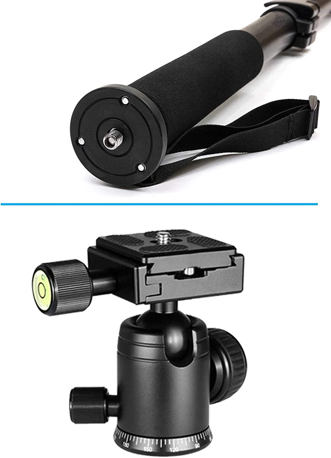Dual Optional Head Professional Heavy Duty 72 Monopod//Unipod for Nikon AF-S DX 18-140mm f//3.5-5.6G ED VR