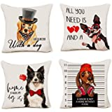pinata Dog Throw Pillow Covers Set of 4, Premium Cotton Linen Dog Pillow Cases for Sofa Couch Chair Car Home Decoration 18x18 Inch