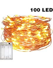 Fairy Lights Battery Operated, 10M/32.8ft/100 LED String Lights, Waterproof 3XAA Battery Case (Not including batteries), Indoor Fairy String Lights For Christmas Tree Wedding,Party Events Garden Spring Decoration (Warm White)