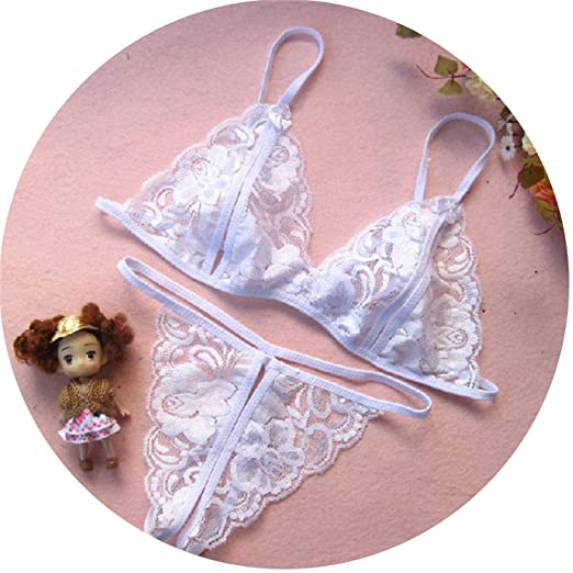 4d9fe9659 Amazon.com  Sexy Strap Lace Open Bust Bra+G-String+Handcuff Temptation Sexiest  Sleepwear  Clothing
