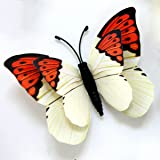 LiveGallery 24 Pcs Removable Cute Double-deck Beautiful 3D Butterfly Wall art Decor Decal Home decorations Stickers Nursery room Decals Bedroom Living room Windows Decorations DIY art (White)