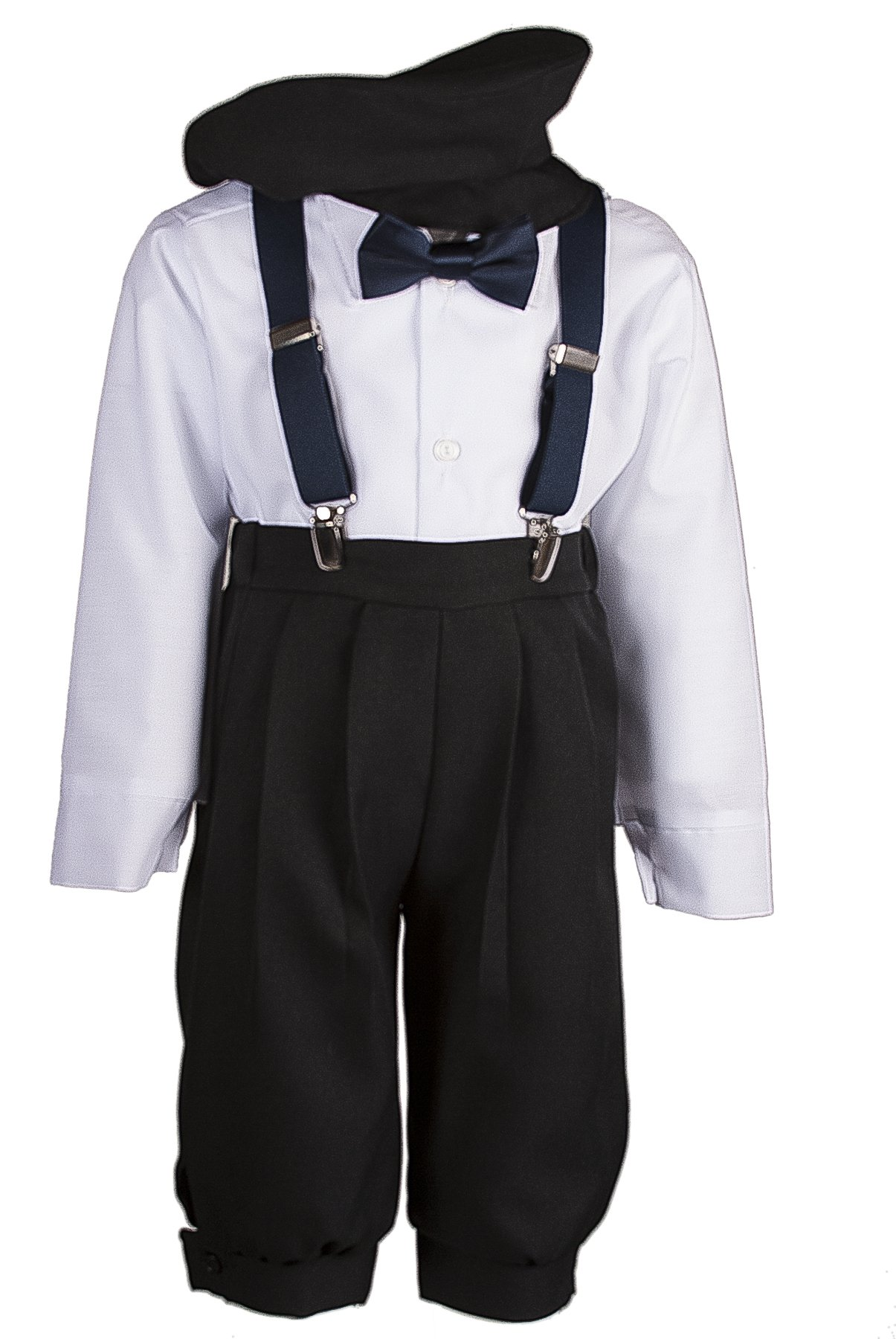 Boys Black Knickers Set Pageboy Cap Navy Blue Suspenders & Bow Tie (24 Months)