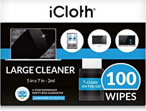 iCloth Large Lens and Screen Cleaner Pro-Grade Individually Wrapped Wet Wipes, Wipes That Clean Smartphones, Tablets, Laptops, and HDTVs - Box of 100