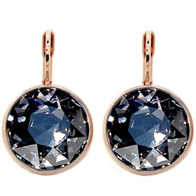 Image Unavailable. Image not available for. Color  Crystal CP Bella Black  Diamond Rose Gold-plated Earrings Made with Swarovski 4fe120999b