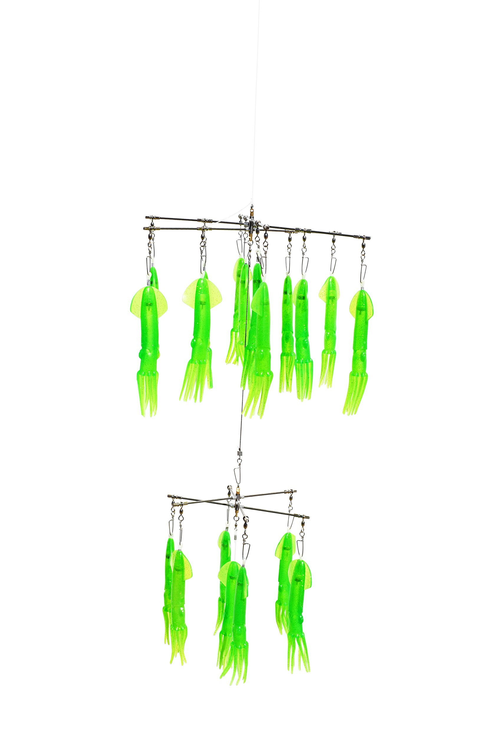 Marlin Darlin Double Squid Dredge with 19 Green Squid by EAT MY TACKLE
