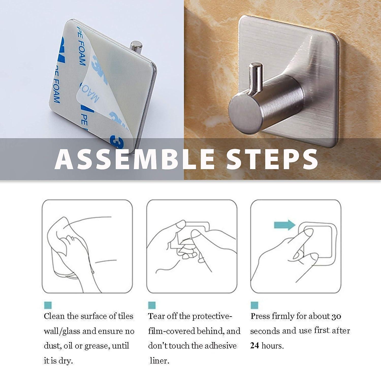 4 X Handtuchhaken Selbstklebend ohne Bohren- Edelstahl rostfrei- Bad- K/üche Handtuchhalter Kleiderhaken Wandhaken SAMMARA Bademantelhaken