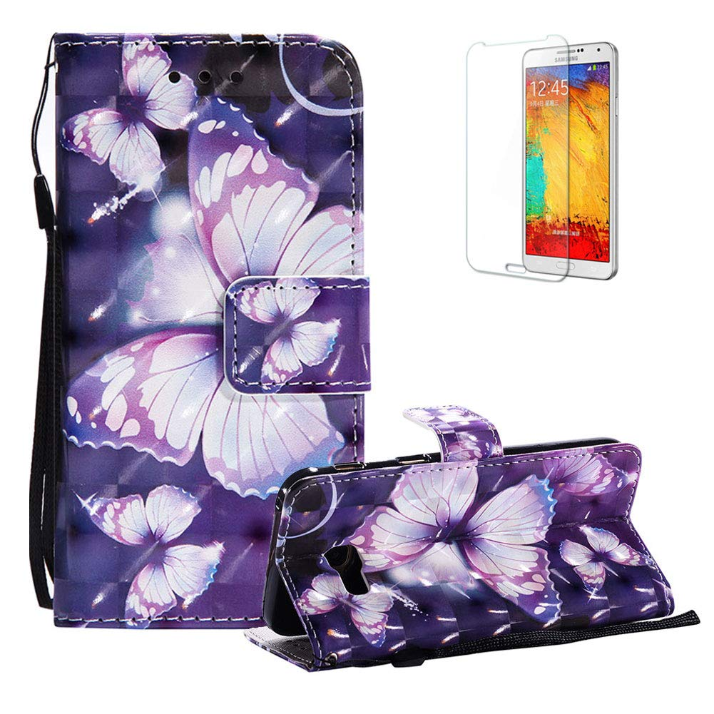 Funyye Strap Magnetic Flip Case for Samsung Galaxy A520, Elegant 3D Purple Butterfly Fantasy Painted Design Folio Wallet Pocket with Stand Credit Card Holder Slots Soft Silicone PU Leather Case for Samsung Galaxy A5 2017, Full Body Shockproof Non Slip Smar