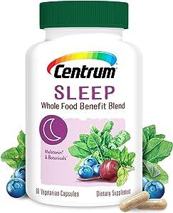 Centrum Sleep, Whole Food Benefit Blend with Melatonin & Botanicals, 60 Vegetarian Capsules (Dietary Supplement) Pack of 1