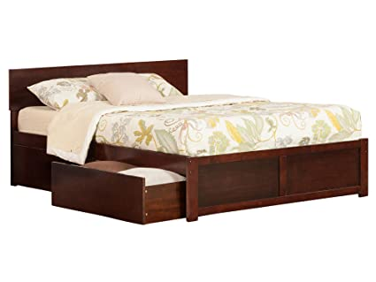 Atlantic Furniture Ar8142114 Orlando Platform 2 Urban Bed Drawers Queen Walnut