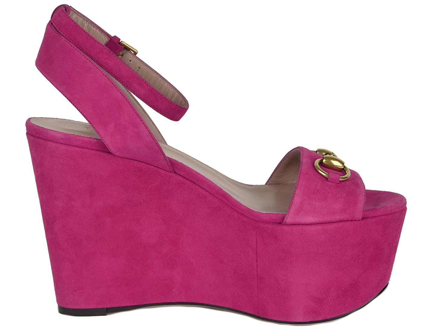 8d9f17fc746 Gucci Shoes Horsebit Fuchsia Suede Leather Wedge Platform Sandals (IT 38    US 8)  Amazon.ca  Shoes   Handbags