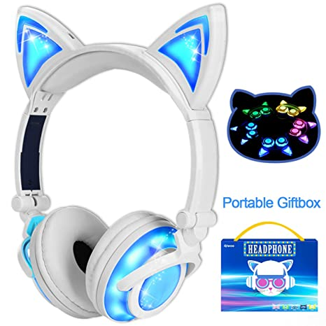 Qiwoo Kids Headphones with Cat Ear USB Rechargeable Adjustable LED Light Up Wired Over Ear Headphones 85dB Volume Limited Compatible for iPad Tablet ...