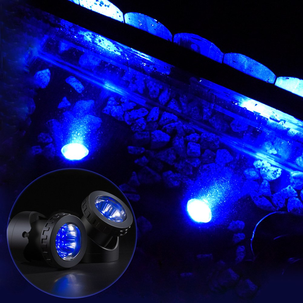 GAXmi Solar Pool Lights Outdoor LED Underwater Spotlight with Flash Mode for Garden Lawn Bush Tree (Double Lamps) Blue