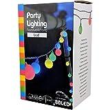 Party Lichterkette bunt 20m mit 80 LED Kugel Strombetrieben RGB IP44 für Balkon, Terrasse, Biergarten oder Party-Keller (80LED)