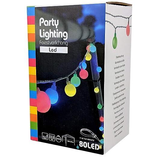 Party Lichterkette bunt 20m mit 80 LED Kugel Strombetrieben RGB IP44 für Balkon, Terrasse, Biergarten oder Party-Keller (80LE