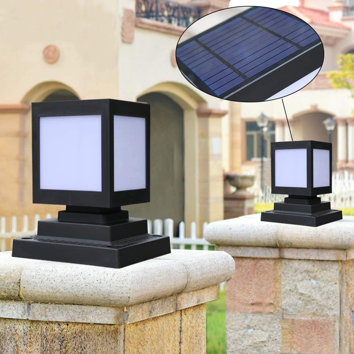 AXWT Luces de cerca solar, pilar de luz Cuadrado Lámpara de columna LED solar moderna Cubierta de patio moderna Iluminación IP55 Villa impermeable LED Poste de pared Pilar Linterna Luz 5W: Amazon.es: