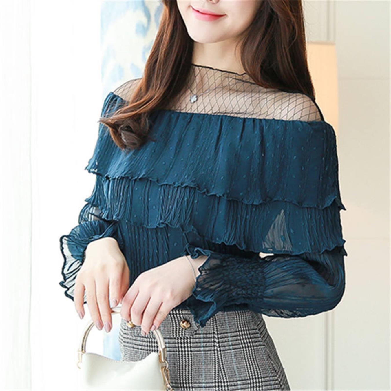 New Long Flare Sleeve Women39;s Shirt Ruffle Blouse Chiffon with Mesh Summer Kimono Tops