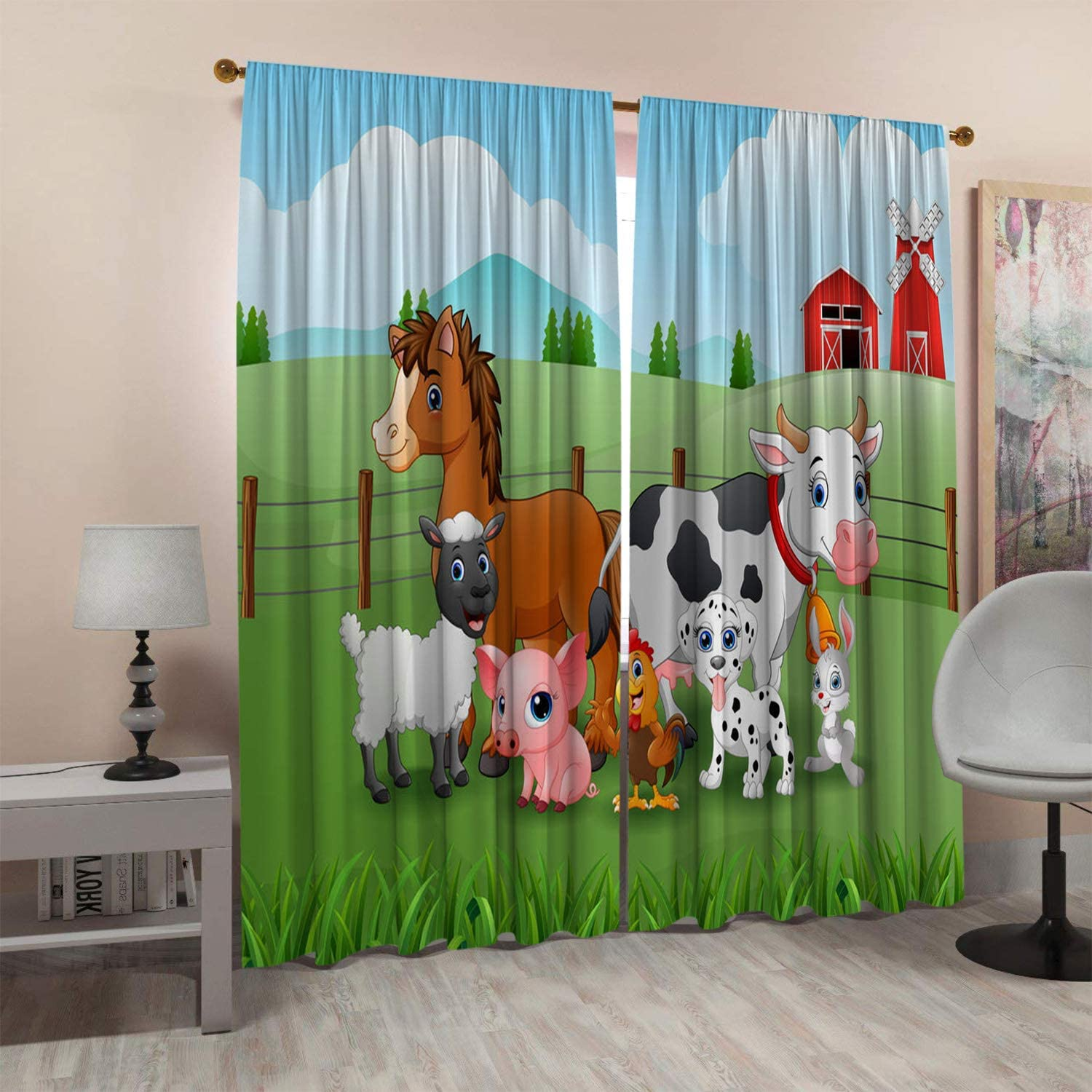 SeptSonne Kids Room Window Curtain Panels Drapes Animal Farm in The Mountains Curtains for Little Boys Room Artwork Customized Curtains 42x45 Inch