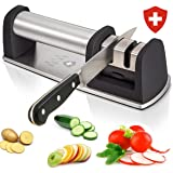Kitchen Knife Sharpener for Straight and Serrated Knives, 2 Stage Diamond Coated Wheel Sharpening System that Sharpens Dull Knives with Steel or Ceramic Blades by Swiss Cas