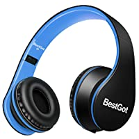 [Upgraded Version] BestGot Over Ear Kids Headphones for Kids Boys Adult with microphone In-line Volume, Included Cloth Bag, Foldable Headset with 3.5mm plug removable cord (Black/Blue)