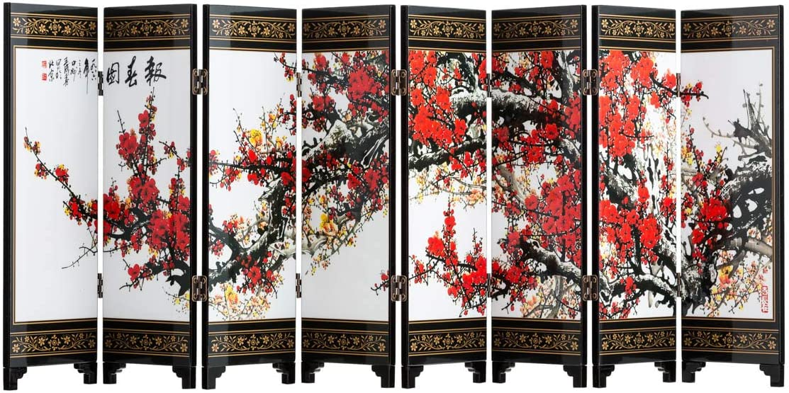 TJ Global 8-Panel Traditional Chinese Art for Home Decoration - Decorative Lacquerware, Home Decor, Lacquer, Oriental, Mini Divider (Cherry Blossom)