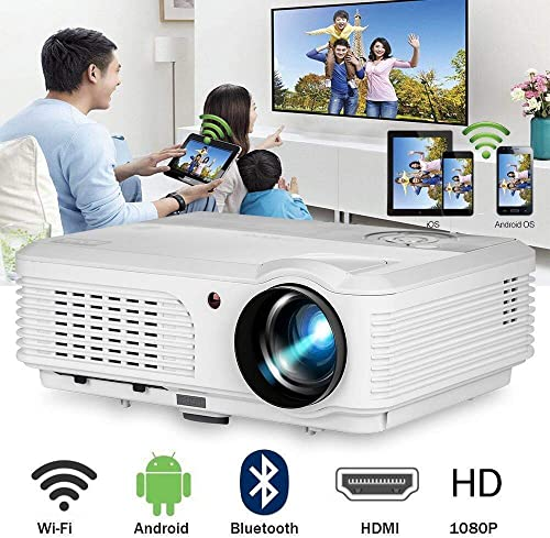 WIKISH Bluetooth Wifi Projector 4400 Lumen,Smart Projector Compatible with HDMI VGA USB Home Theater Laptop Smart Phone TV Box PS4 for Outdoor Movie
