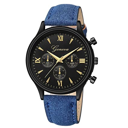 Longra☆ Relojes Análogos del Cuarzo del Vidrio del Rayo del Azul de la Moda del