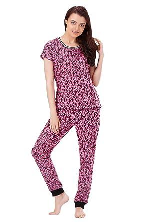 dadc3deb90a4 Crazy Triangle Tshirt Pajama Set Cotton Sleepwear Nightwear Loungewear  Casual Women Ladies Pink Purple J208B at Amazon Women s Clothing store