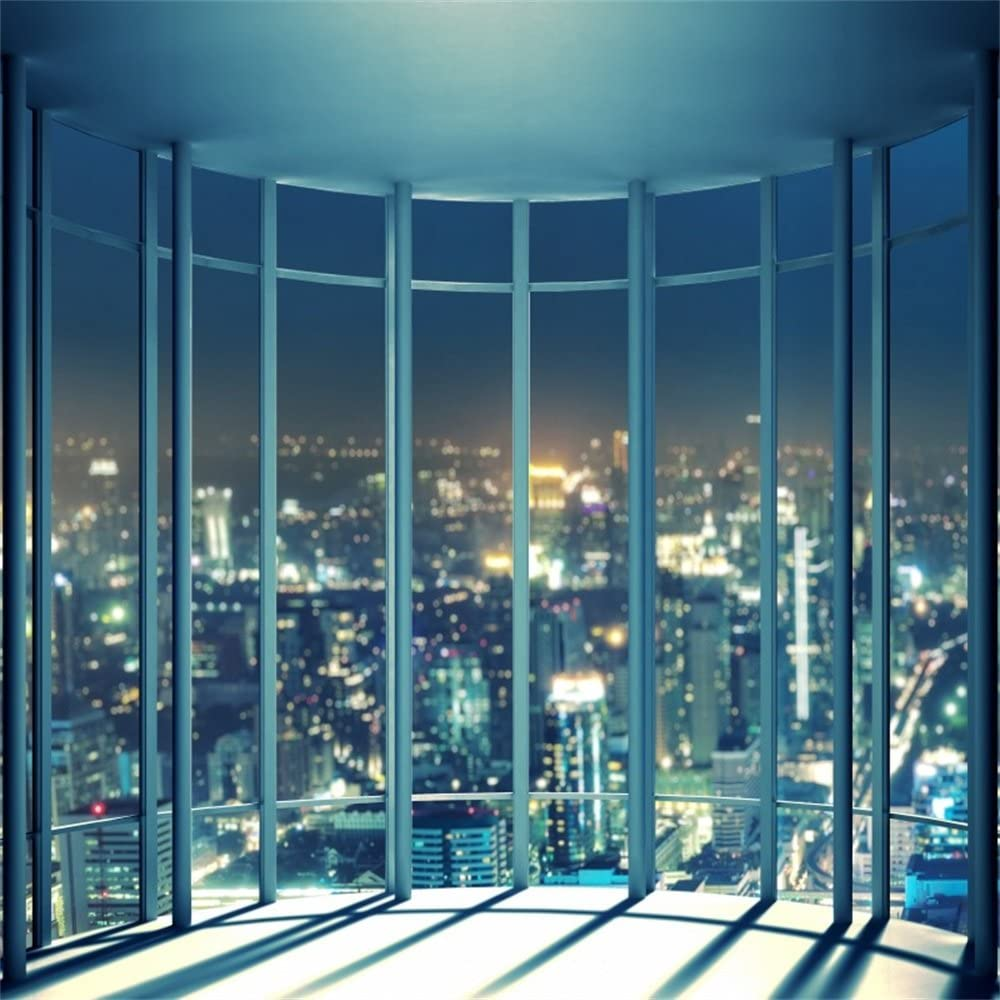 Leowefowa 10X10FT Business Office Room Backdrop French Window Skyscraper Backdrops for Photography Modern City Night View Vinyl Photo Background Kids Adults Studio Props