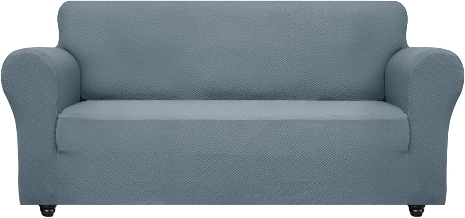 OBYTEX Stretch Sofa Cover Jacquard Spandex Couch Covers Dog Cat Pet Slipcovers Furniture Protectors, Machine Washable (Large, Greyish Blue)