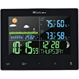 Wittime Wireless Colorful Digital Weather Station with Outdoor Wireless Sensor,Indoor Outdoor Thermometer Hygrometer,Moon Phase,Barometric Pressure,Alarm Clock and Weather Forecast Function for Home