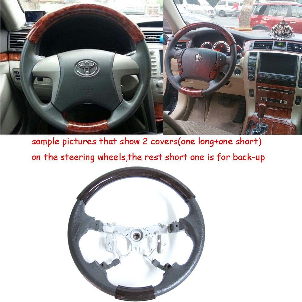 Pursuestar Universal Burl Wood Steering Wheel Cover Trim Decor Compatible for Land Cruiser Camry Crown RAV4 Hiace LX ES GS is RX Peugeot 38-41cm
