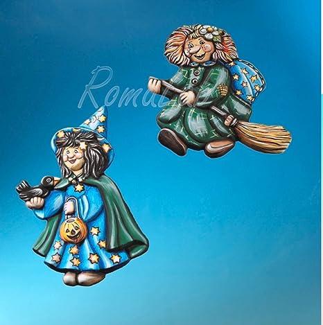 STAMPO con 2 FORMINE a tema Halloween streghe strega con scopa e zucca  Befana a5c1b993b7bc