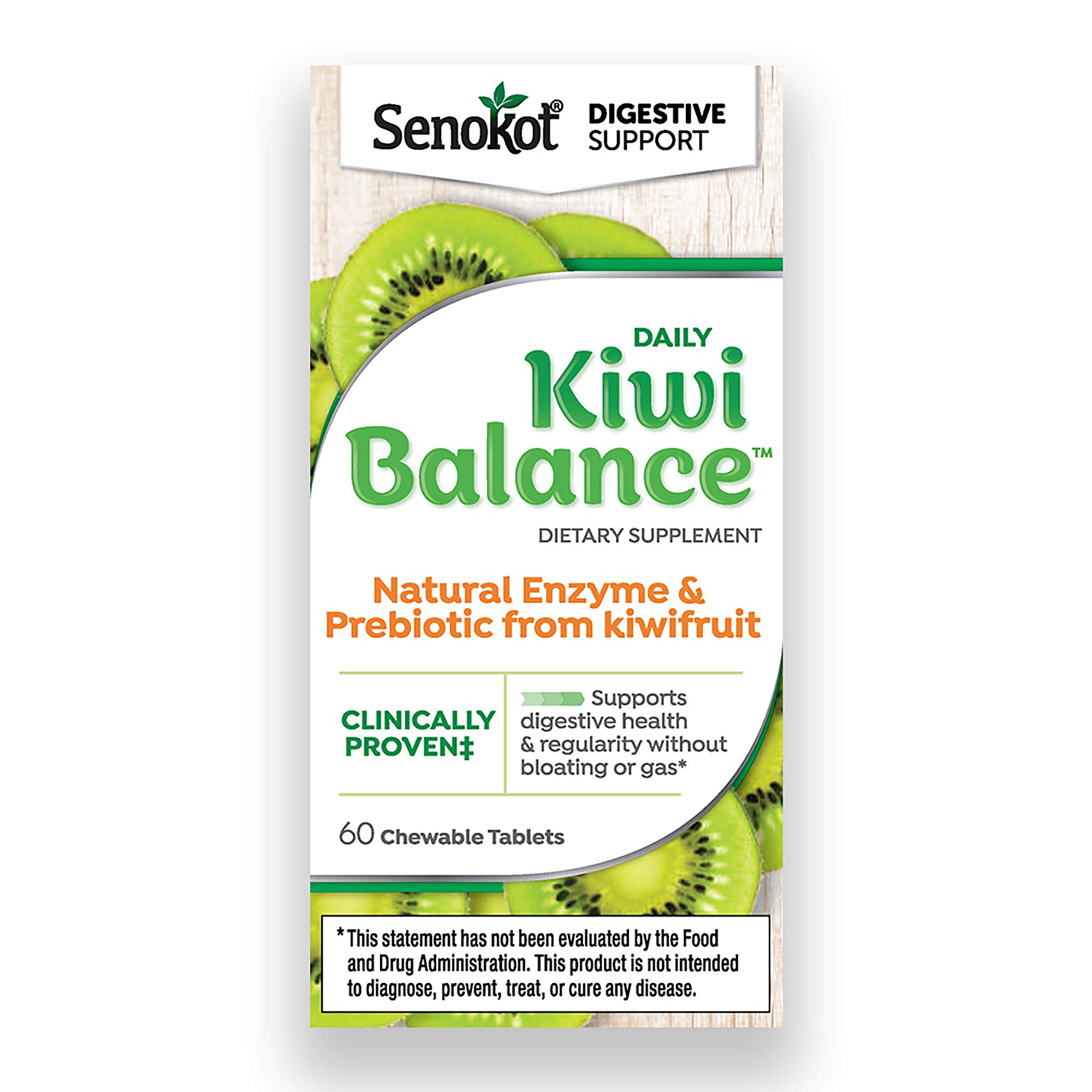 Senokot Daily Kiwi Balance Digestion & Regularity Support Dietary Supplement Chewable Tablet (60Count) by Senokot