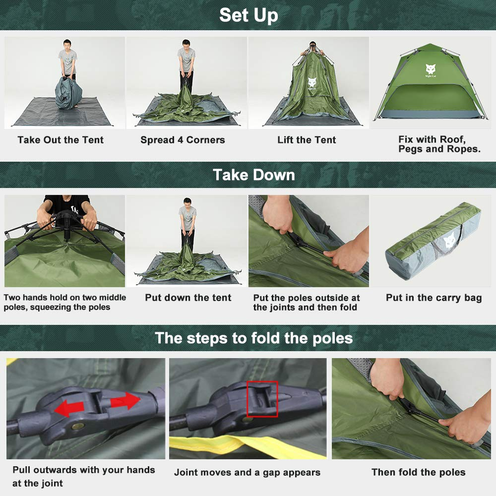 Night Cat Waterproof Camping Tent 2 3 Person Instant Pop Up Automatic Dome Holiday Easy Set Up Tent for Outdoor Hiking Double Layer