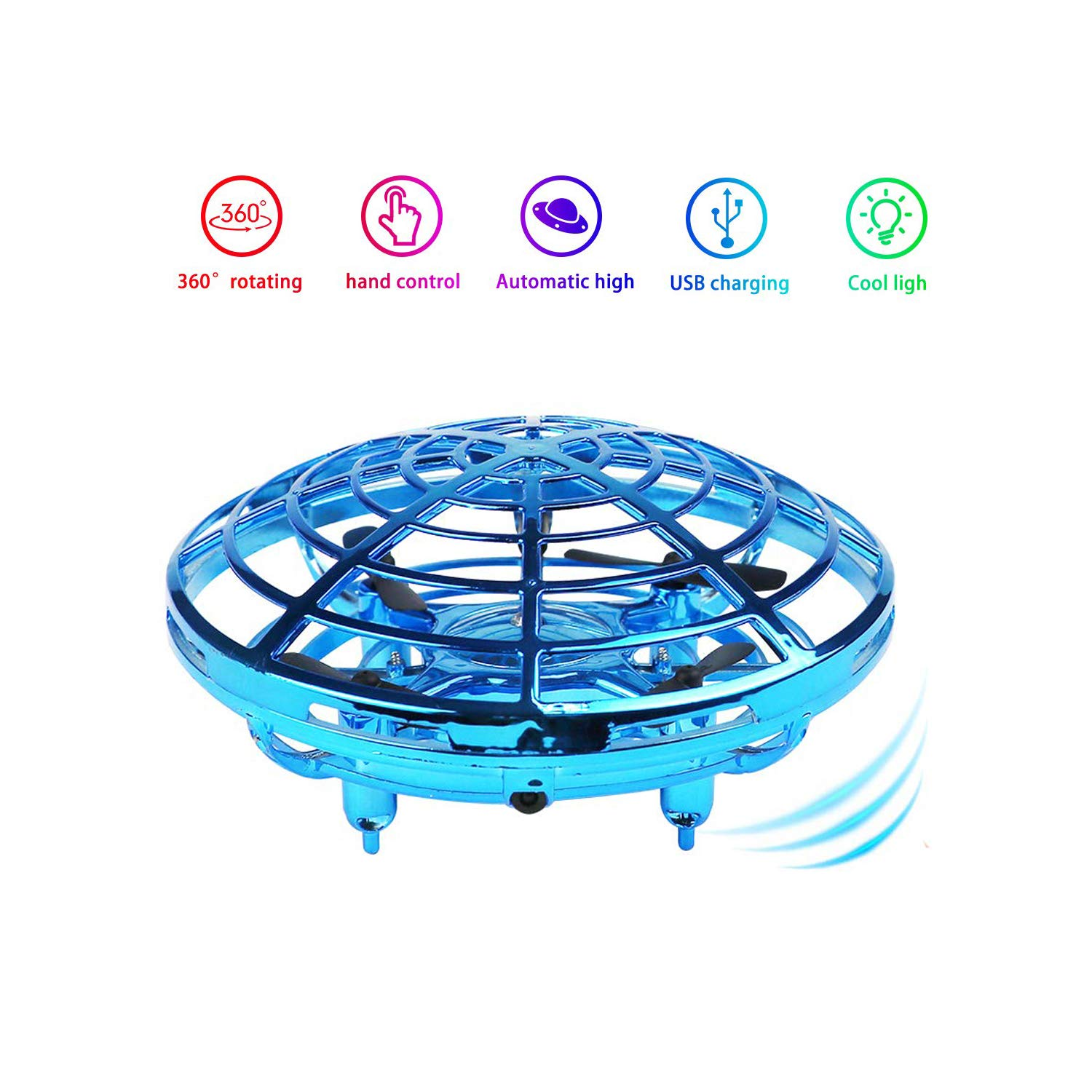 asuku Flying Ball Toy Drones,Hand Operated Drones for Kids or Adults - Scoot Flying Ball Drone,with 360°Rotating and Flashing LED Lights Mini Drone,for Boys and Girls, Kids Gifts (Blue) by asuku