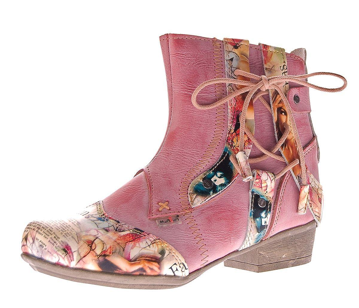 TMA Damen Damen Damen Stiefeletten Comfort Stiefel Echtleder Schwarz Blau Rot Leder Schuhe 6186 Gr. 36-42 7f0794