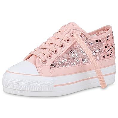 SCARPE VITA Damen Schuhe Sneaker Wedges Spitzenstoff Plateau Turnschuhe  Pailletten 157478 Rosa 36 2a7c9bbf48