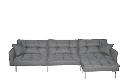 EiioX Sectional Sofa Bed Recliner Couch Sleeper Reversible Chair Lounge Futon with 2 Pillows Storage Pocket, Fold Up Down for Living Room,Bedroom, Office etc, Grey