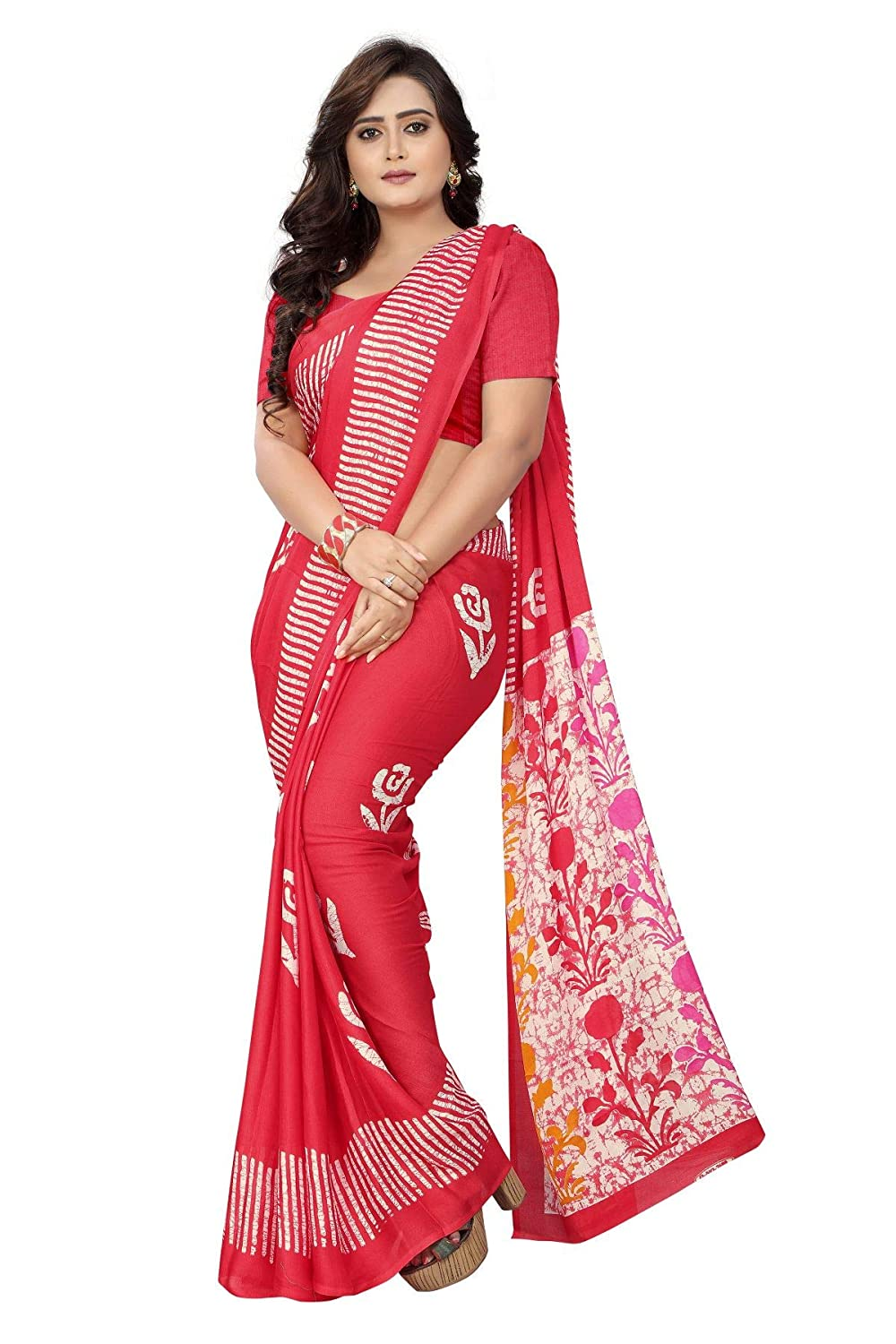 5820cb86a7 Jaanvi Fashion Women's Crepe Silk Printed Saree With Blouse (batik-print- pink): Amazon.in: Clothing & Accessories