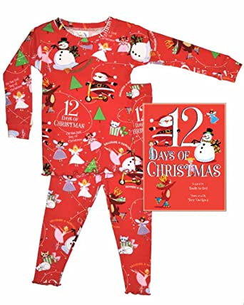 e54393bcf6a1 Amazon.com  Books To Bed 12 Days of Christmas Girls Long Sleeve ...