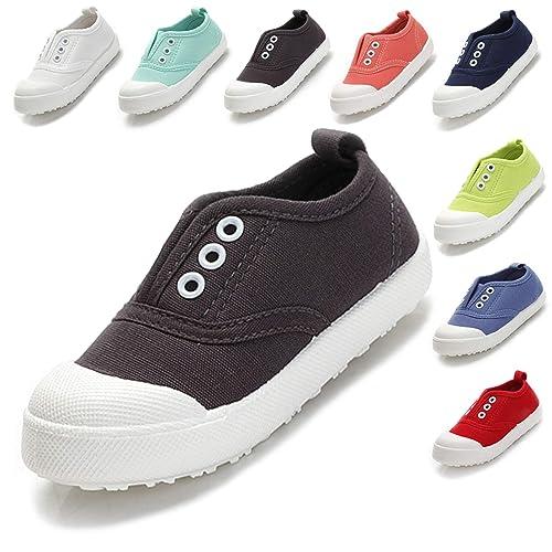 edd096c1fb9e Kikiz Candy Color Kids Toddler Canvas Sneaker Boys Girls Casual Shoes Grey  5 M US Toddler