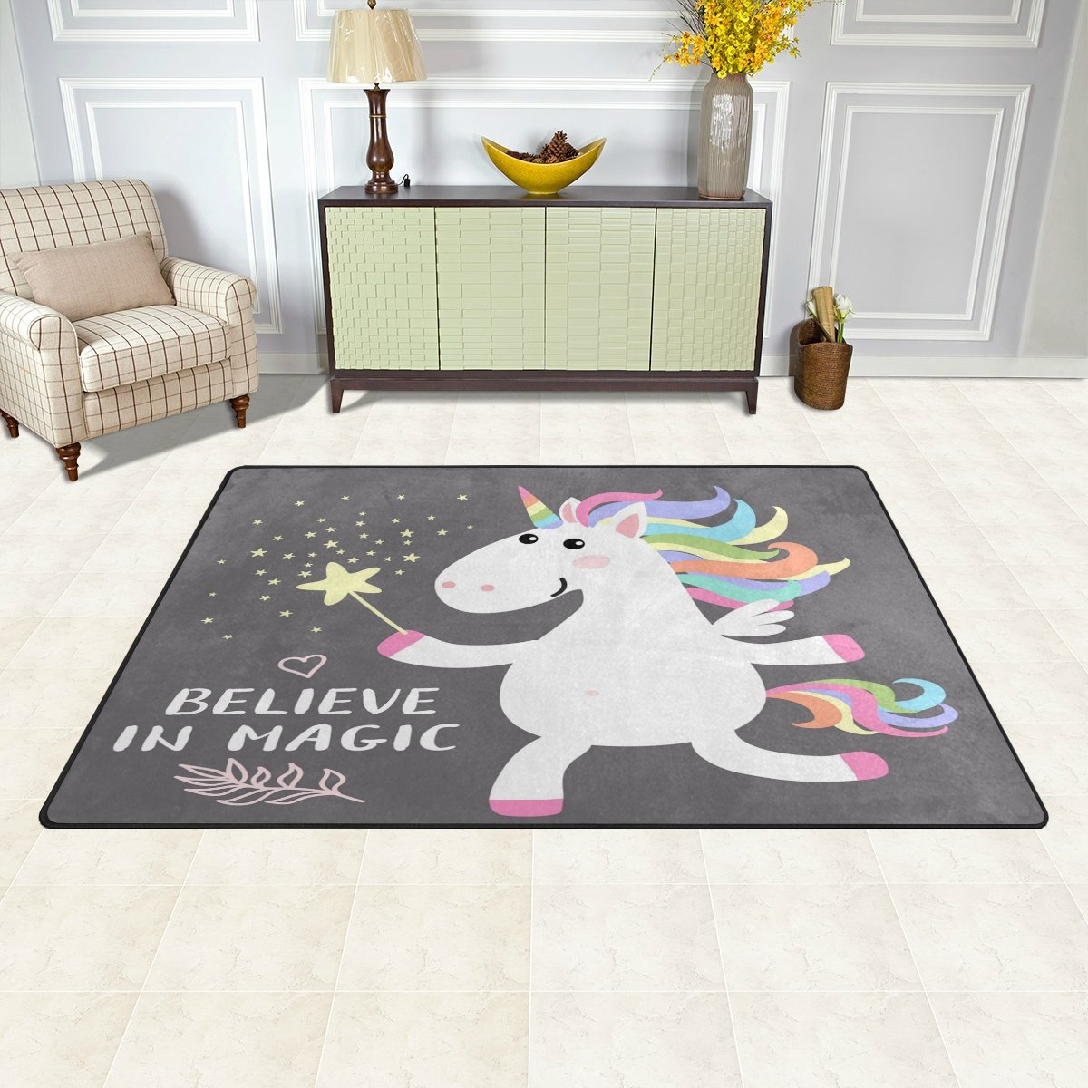 WOZO Cute Magical White Unicorn Star Area Rug Rugs Non-Slip Floor Mat Doormats Living Room Bedroom 31 x 20 inches