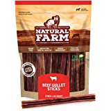 Natural Farm Made and Packaged Gullet Sticks: 6-Inch Long (25-Pack), One Ingredient Beef Esophagus Chews - Fully Digestible,