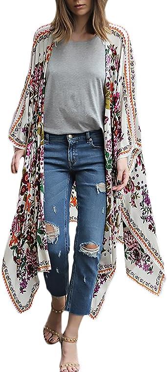 Cardigan Largo Mujer Verano Gasa De Frente Abierto Hippie Boho Estampado Flores Elegantes Moda Camisas Tunicas Playa Kimono Ropa Fiesta Modernas Bikini Cover Up Tops: Amazon.es: Ropa y accesorios