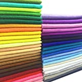 AiMay 50pcs Soft Felt Fabric Pack Felt Squares Sheets for DIY Craft Assorted Colors 1.4mm Thickness (20cm x 20cm)