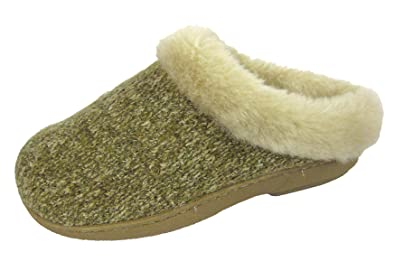 9b2f02831 Ladies COOLERS PREMIER Mule Slippers Womens Knitted Comfort Fur Outdoor  Sole Mules Beige Size UK 3