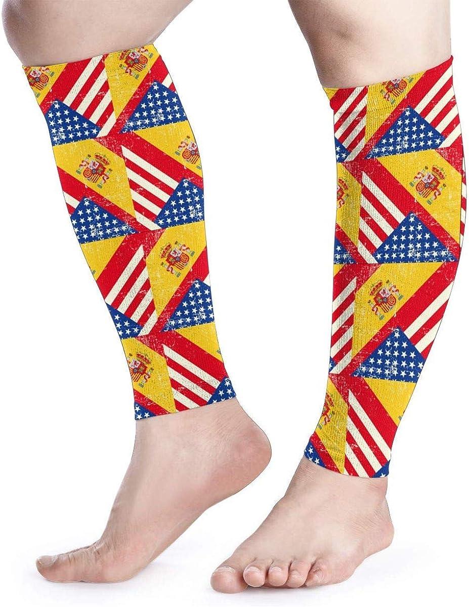 Wfispiy Manga de compresión de pantorrilla EE. UU. Bandera de España de Estados Unidos Espinilla de pantorrilla Admite calcetines de compresión de piernas - Hombres Mujeres: Amazon.es: Ropa y accesorios